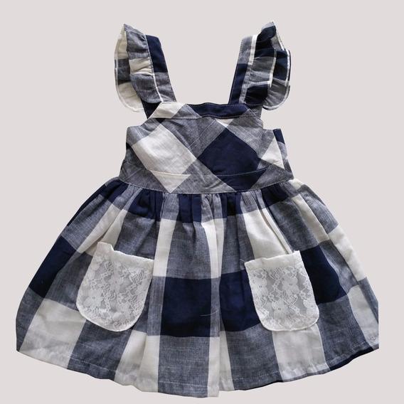 Vestido Para Meninas Passeio Elegante - Xadrez 1 A 2 Anos
