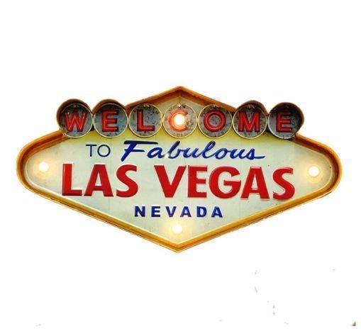 Placa Las Vegas Painel Metal Luminoso Led Retro Vintage .