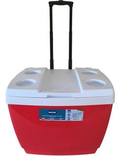 Caixa Termica Cooler Grande 42 L Com Rodinhas E Alça Mor Red