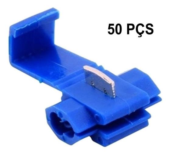50 Pçs Conector Derivação Azul / Emenda Cabos 1,5mm - 2,5mm