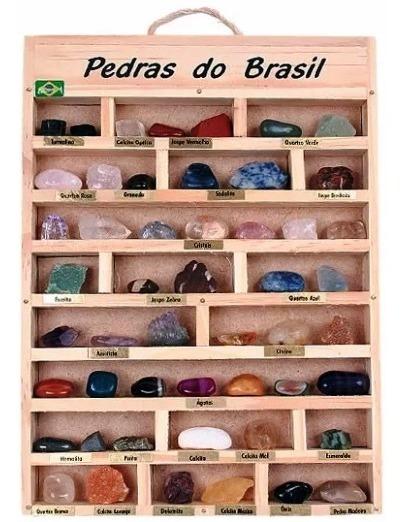 Caixa Coleção De 26 Pedras Brasileiras Artesanato Souvenir