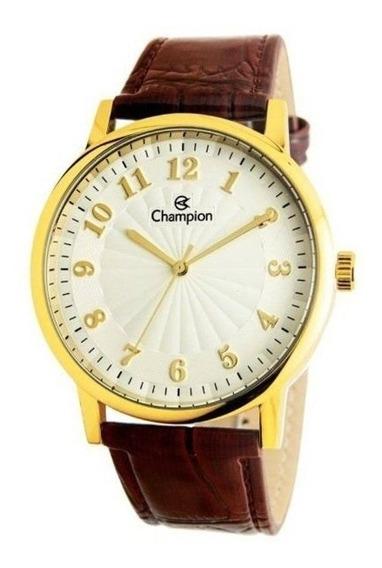 Relógio Champion Masculino Cn20560s Metal Couro Dourado Marr