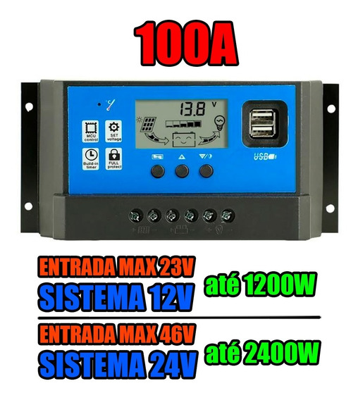 Controlador Carga Pwm 100a Energia Solar Painel Fotovoltaico