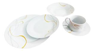 Vajilla Redonda De Porcelana 20 Piezas 4 Puestos