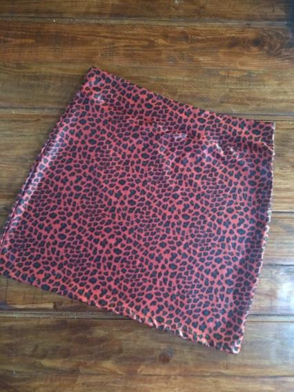 Minifalda Animal Print Licra Brillante Leopardo-envio Gratis