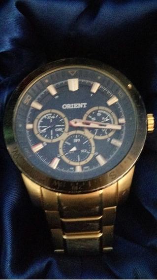 Relógio Orient Cronógrafo, Aço, Dourado, Mostrador Preto