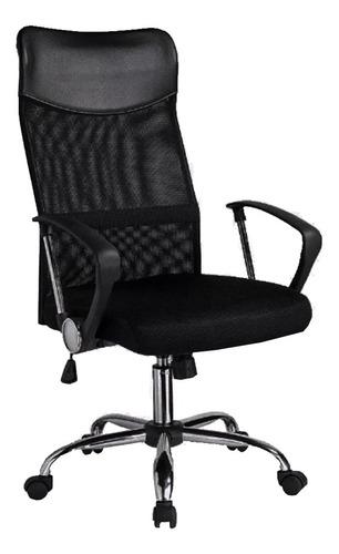 Imagen 1 de 2 de Silla de escritorio Baires4 Ejecutiva Mesh  negra con tapizado de mesh y cuero sintético