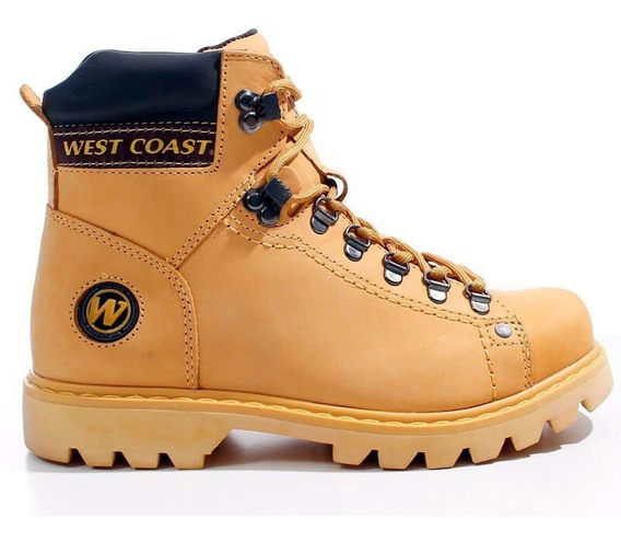 Bota Masculina West Coast Worker 5790 Couro Legítimo Amarelo