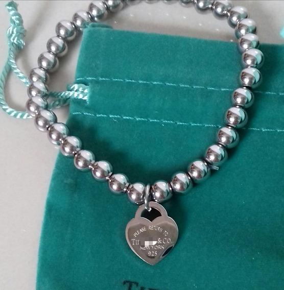 Pulseira Bracelete Tiff Heart Coração Contas Aço Inoxidável