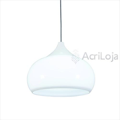 Lustre / Pendente Verona Em Acrílico Branco 38x30 Cm