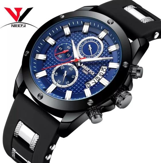 Relógio Masculino Nibosi Pulseira Silicone 100%funcional