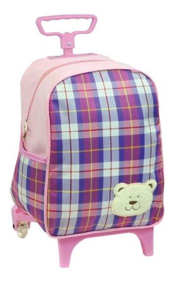 Mochila Bebê De Rodinhas Pequena Urso Xadrez Menina - 6722