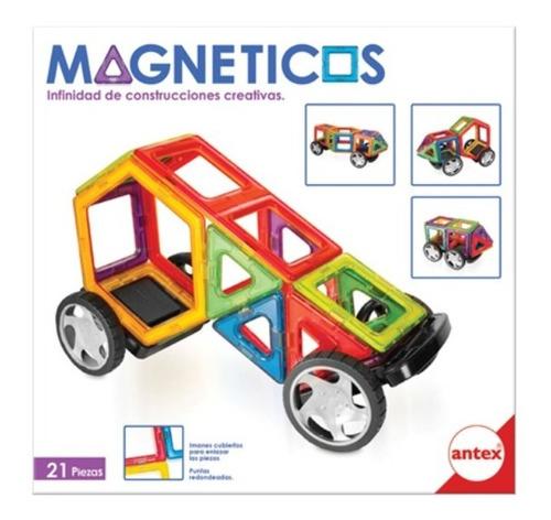 Imagen 1 de 4 de Bloques Magnético Imán Tipo Magnific 21 Piezas Antex Ruedas