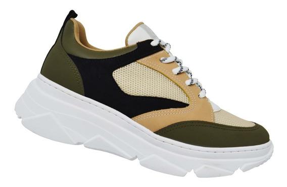 Tênis Feminino Via Marte Sneaker Dad Chunky Militar 19-15206