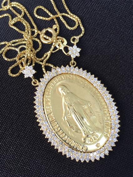 Gargantilha 18k Nossa Senhora Com Diamantes Santa Milagrosa