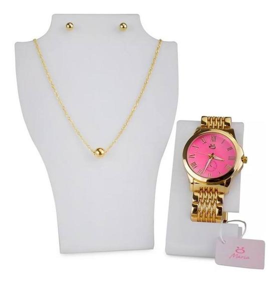 Relógio Feminino Rosa Pulseira De Aço Dourada