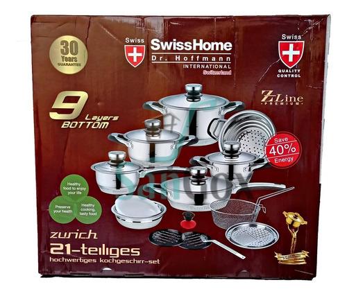 Bateria De Ollas De 21 Piezas Acero Inoxidable Swisshome
