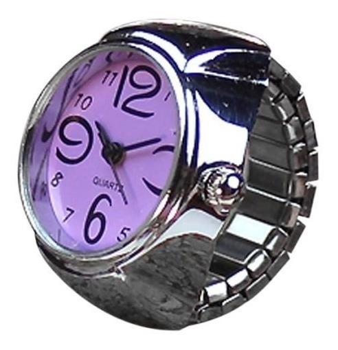 Relógio Feminino De Dedo Anel Mostrador Roxo Quartz
