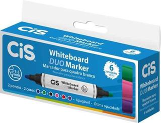 6 Marcadores Pincel Caneta Quadro Branco Coloridos 2 Pontas