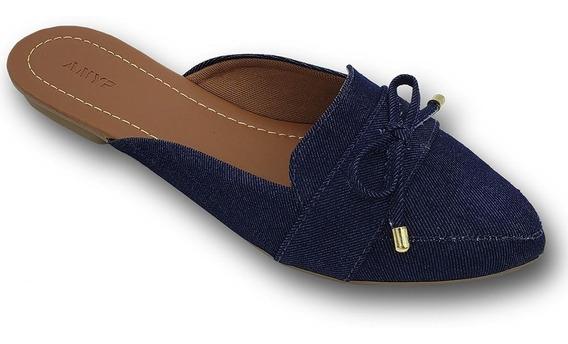 Mule Feminino Anyp Bico Fino Jeans Azul Marinho