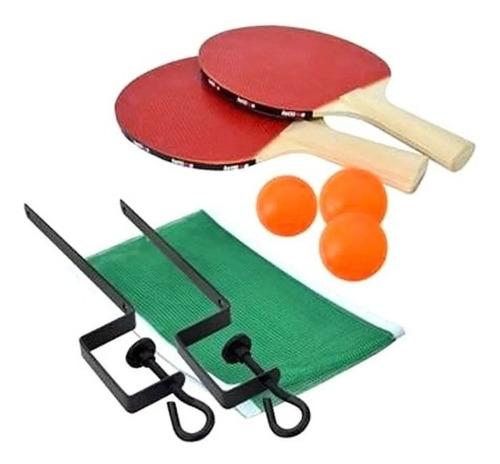 Kit Ping Pong 2 Raquetes 3 Bolas  + Rede + Suporte - Oferta