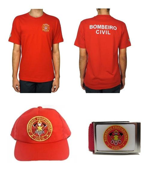 Camiseta Brasão Bombeiro Civil + Cinto + Boné