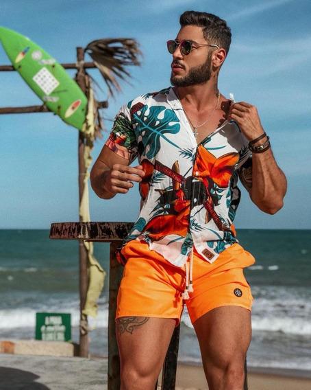 Shorts Mauricinho Neon Masculino Praia Verão Curto