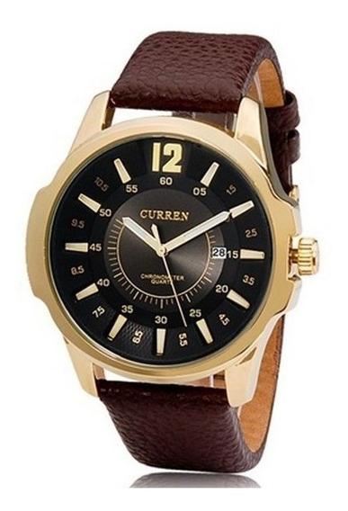 Relógio Masculino Curren Couro Analógico 8123 Dourado Preto