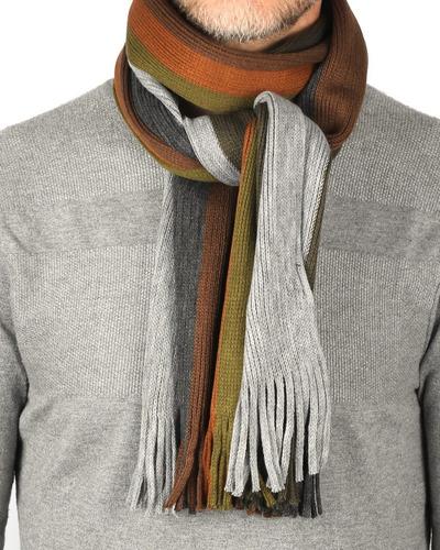 Imagen 1 de 4 de Bufanda Hombre Tejida Franjas Importada Calidad Premium