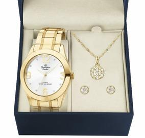 Relógio Feminino Dourado Champion Ch24268d Origina + Kit