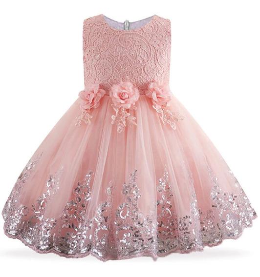 Vestido Infantil Daminha Dama Bordado Festa Casamento Renda