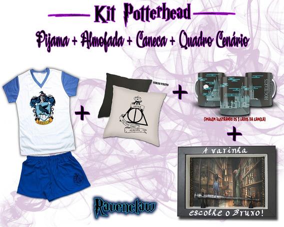 Kit Pijama + Almofada + Caneca + Quadro Varinha Harry Potter