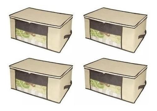 Imagem 1 de 2 de Kit 4 Caixa Organizadora Organizador Closet Roupa 45x45x20cm Edredom Travesseiro Casacos Armário Guarda Roupas Flexível