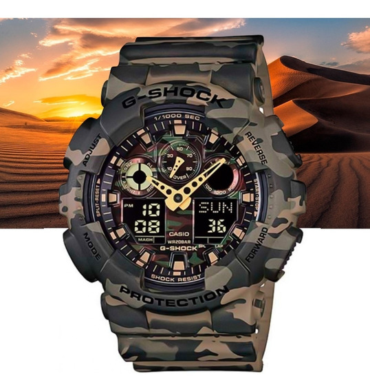Relógio Casio G-shock Masculino Anad Ga-100cm-5adr Camuflado