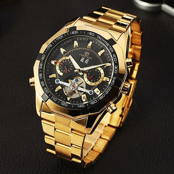 Reloj Hombre Automatico Tourbillon Fecha Elegante Importado