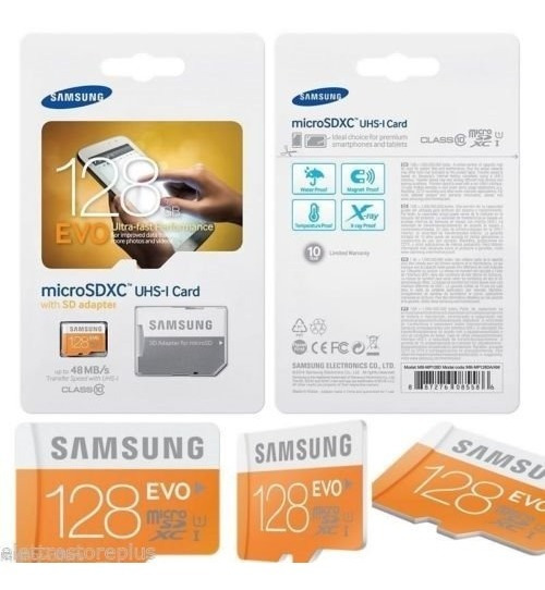 Cartão Micro Sd Sdxc Samsung Evo 128gb Class 10 48mb/s