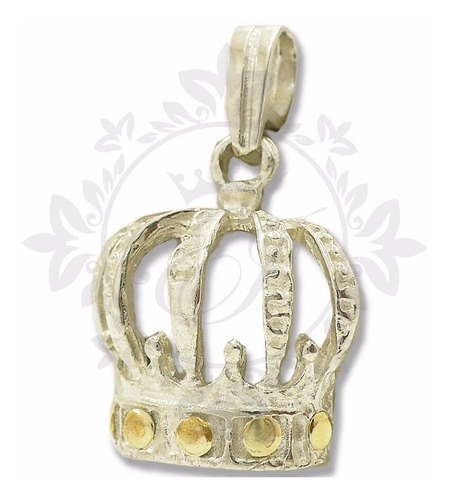 Dije Plata Oro Corona 925 Mujer, Medalla Plata Corona