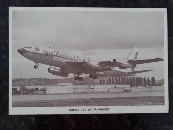 Folheto Avião Boeing 720 Jet Transport Raro Anúncio Foto