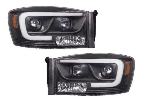 Farol Dodge Ram 2500 Black Led 2006 2007 2008 2009