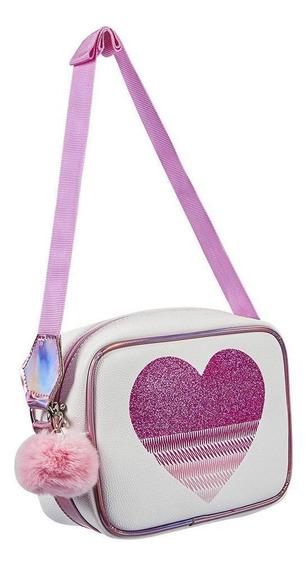 Bolso Bandolera Niña Corazón Glitter Color Blanco / Rosa Con