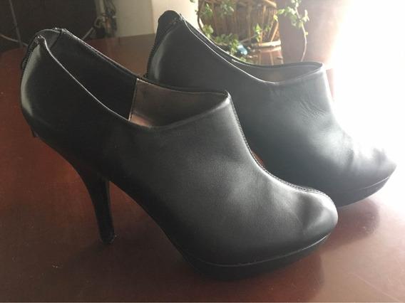 Zapatos Negros De Piel Tipo Botin