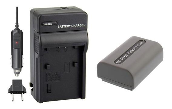 Kit Bateria Np-fp50 + Carreg P/ Sony Dcr-hc40 Hc41 Hc42 Hc43