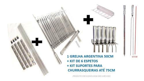 Grelha Argentina + Kit 6 Espeto + Suporte Churrasqueira 75tb