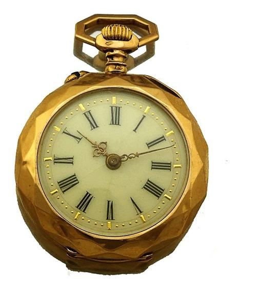 Relogio De Bolso Antigo Com Porcelana Ouro Rose 18k J22104