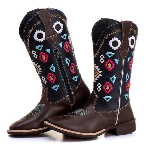 Bota Texana Feminina Country Cano Alto Bordada Kapell Brinde