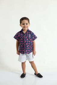 Camisa Social Masculina Infantil Manga Curta