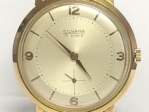 Relógio Pulso Silvana 11618 Anos 50 S/ Uso Plaquê Ouro 20 Mc