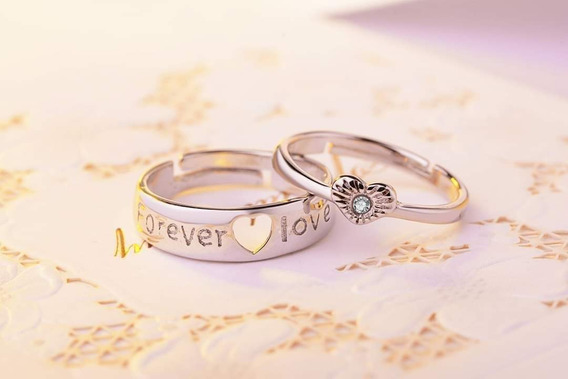Par De Anillos En Plata Ley De Promesa De Amor Infinito