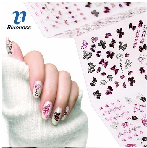 Sticker 3d Para Uñas Rosados Mariposas Y Flores Metalizadas