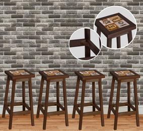 Kit Com 04 Banquetas Alta Para Bar Em Madeira De Eucalipto